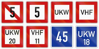 German inland water navigation sign - No stopping, minimum speed is 5 kmh.  Royalty Free Stock Images