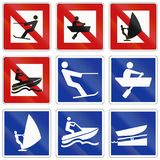 German inland water navigation sign - Water skiing is prohibited royalty free illustration