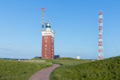 German island Helgoland with lighthouse and communication equipment. Landscape of German island Helgoland with lighthouse and communication equipment royalty free stock images