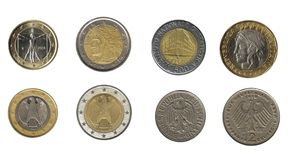 German and italian coins Stock Photo