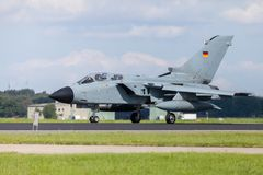 German jet fighter. Drives on military airbase Stock Image