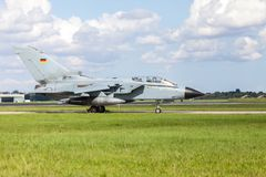 German jet fighter. Drives on military airbase Royalty Free Stock Photo