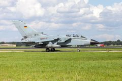 German jet fighter. Drives on military airbase Stock Photography