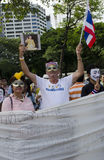 German joins Thai protest. BANGKOK, July 14: A German National joins the anti-government protestors supporting the white-mask movement against corruption in the Royalty Free Stock Photo