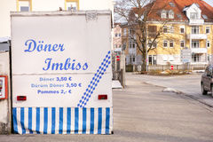 German kebab shop. German doner shop with copy space to the right royalty free stock image