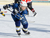 German kids playing ice hockey Royalty Free Stock Photo
