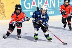 German kids playing ice hockey Royalty Free Stock Photos