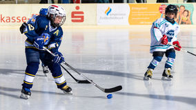 German kids playing ice hockey Royalty Free Stock Photography