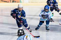 German kids playing ice hockey Royalty Free Stock Photo
