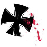 German knights cross. Illustration of black German knights cross splattered with blood, isolated on white background Stock Images