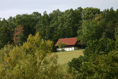 German landscape. A little house in the forest royalty free stock photos