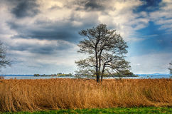 German landscape. Rural scenery. View of a Women`s island in Chiemsee from Herreninsel. Bavaria, Germany royalty free stock image