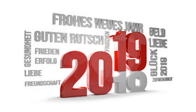 German language for happy new year 2019 3D Render. Illustration Stock Photos