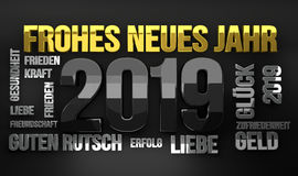 German language for happy new year 2019 3D Render. Illustration Royalty Free Stock Image