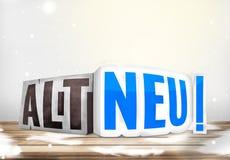 German language new old 3D. Graphic design illustration Stock Photo