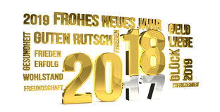 German language for 2018 new year 3d render. Illustration Royalty Free Stock Photo