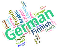 German Language Shows Germany Communication And Words. German Language Meaning Communication Foreign And Text Stock Photos
