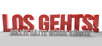 German language for start now dont wait 3D Renering Royalty Free Stock Photos