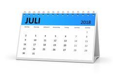 German language table calendar 2018 july Royalty Free Stock Photography