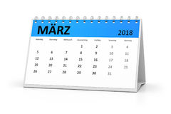 German language table calendar 2018 march. 3d rendering of a german language table calendar for your events 2018 march Royalty Free Stock Image