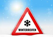 German Language Winterreifen for winter tires Royalty Free Stock Image