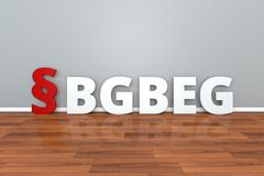 German Law BGBEG abbreviation for Introductory Act to the Civil Code 3d illustration. German Law BGBEG abbreviation for Introductory Act to the Civil Code 3d Stock Images