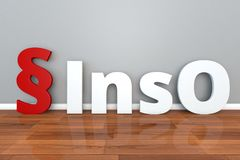 German Law InsO abbreviation for insolvency Act 3d illustration Insolvenzordnung. German Law InsO abbreviation for insolvency Act Insolvenzordnung Stock Photography
