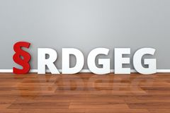 German Law RDGEG abbreviation for Introductory Act to the Legal Services Act 3d illustration. German Law RDGEG abbreviation for Introductory Act to the Legal Royalty Free Stock Photography