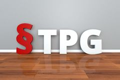 German Law TPG abbreviation for Law on the donation, removal and transfer of organs and tissues 3d illustration. German Law TPG abbreviation for Law on the Royalty Free Stock Images