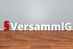 German Law VersammlG abbreviation for Law on meetings and demonstrations 3d illustration Versammlungsgesetz. German Law VersammlG abbreviation for Law on vector illustration