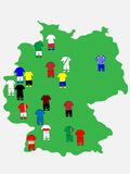 German League Clubs Map 2013-14 Stock Photography