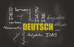 German Learning Blackboard Stock Images