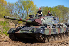 German leopard 1 a 5 tank drives on track Royalty Free Stock Photography