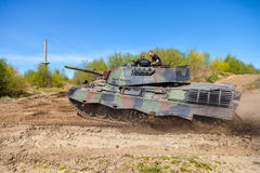 German leopard 1 a 5 tank drives on track Stock Photo