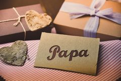 German Letter Daddy Happy fathers day present gift hipster vintage man Papa Royalty Free Stock Image
