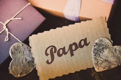 German Letter Daddy Happy fathers day present gift hipster vintage man Papa Stock Photo