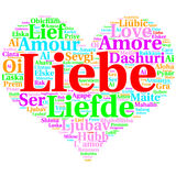 German: Liebe. Heart shaped word cloud Love, on white Stock Images