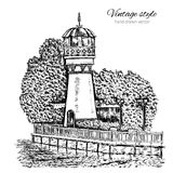 German lighthouse, water tower on shores of lake hand drawn vector illustration isolated on white, vintage engraving Stock Photography