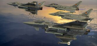 Free German Luftwaffe`s Eurofighter Typhoon  Climb In-formation Stock Image - 192066381