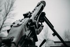 The barrel of MG-42 machine gun. German machine gun MG-42 in black and white tones Stock Photography