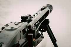 German machine gun mg-42 close-up. Machine gun MG-42 close-up on a white light background Royalty Free Stock Images