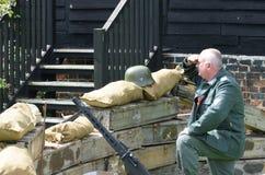 German machine gun soldier in reenactment Stock Images