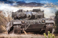 German main battle tank stands Stock Photo