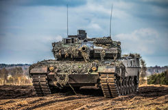 German main battle tank stands Stock Photography