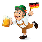 German Man. Funny Oktoberfest Man with Beer Stein and Flag of Germany Stock Images