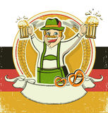 German man and beers.Vintage oktoberfest  symbol o Stock Photography