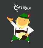 German man or character, cartoon, citizen of. Germany in national clothing whith a hat and in pants with beard Royalty Free Stock Images