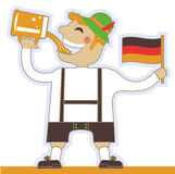 German man drinking beer and holding flag.Vector o Stock Image