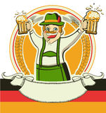 German man and glasses of beer.Vector oktoberfest. Estival symbol isolated on white for design Stock Photography