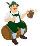 German man sits on an oak barrel and holding wooden beer mug. Bavarian fat man celebrating oktoberfest Royalty Free Stock Photography